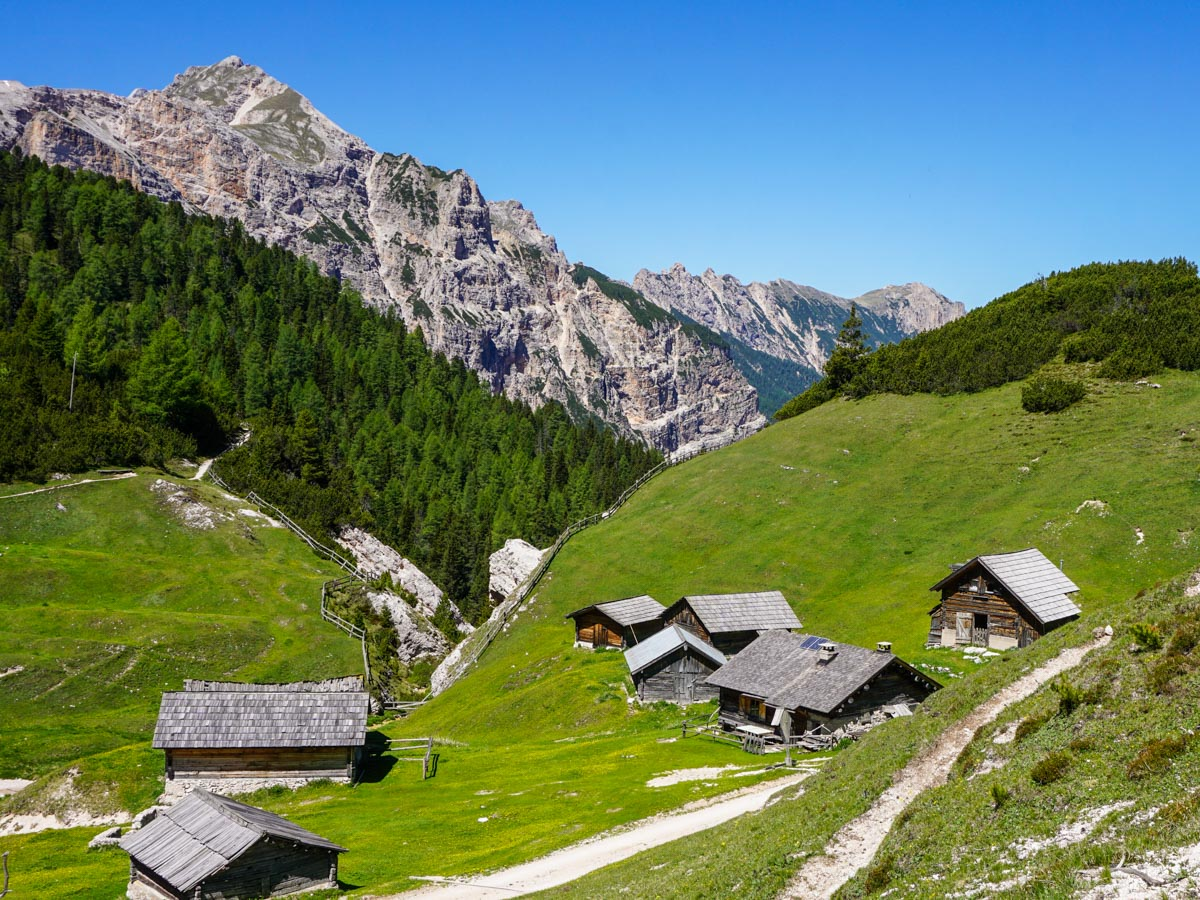 Buildings after Rifugio Fodara Vedla on the Alpe di Sennes Hike in Dolomites, Italy