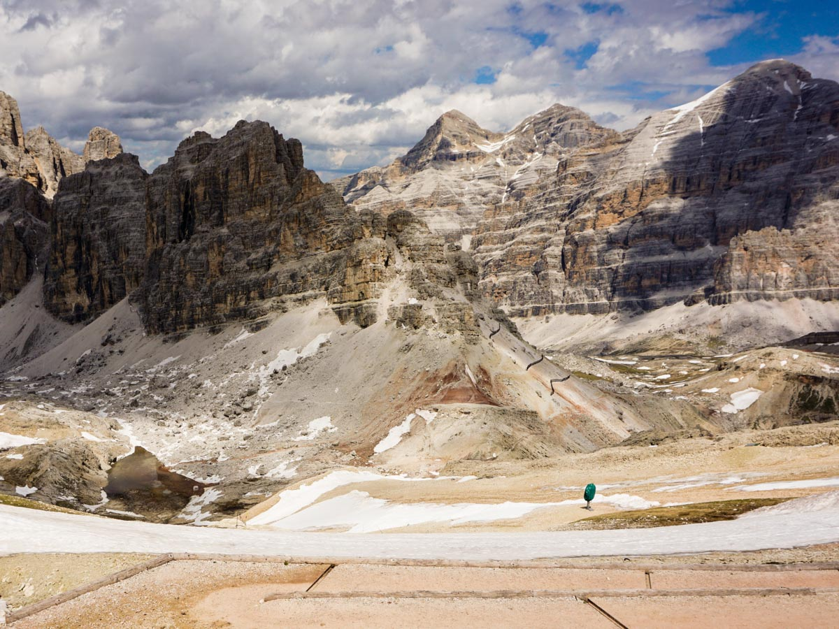 Views to the north from the Lagazuoi to Passo Falzarego Hike in Dolomites, Italy