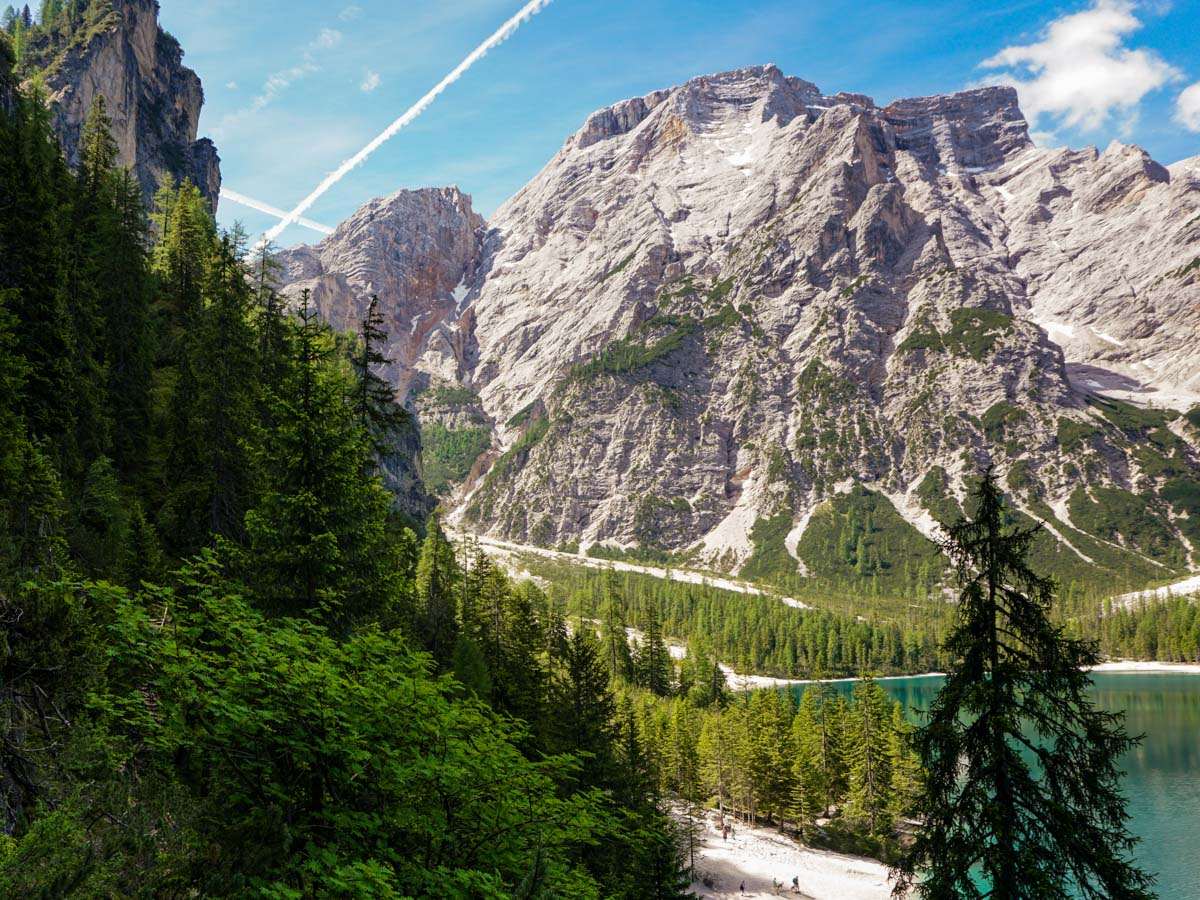 The path beside Pragser Wildsee on the Lago di Braies Hike in Dolomites, Italy