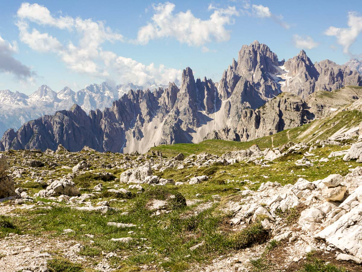 Jagged peaks dominate the views on the Tre Cime di Lavaredo Hike in Dolomites, Italy