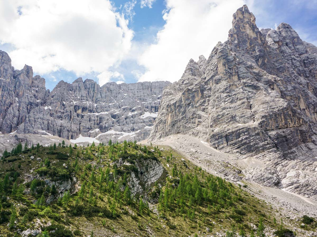 Great views from the Lago di Sorapiss Hike in Dolomites, Italy