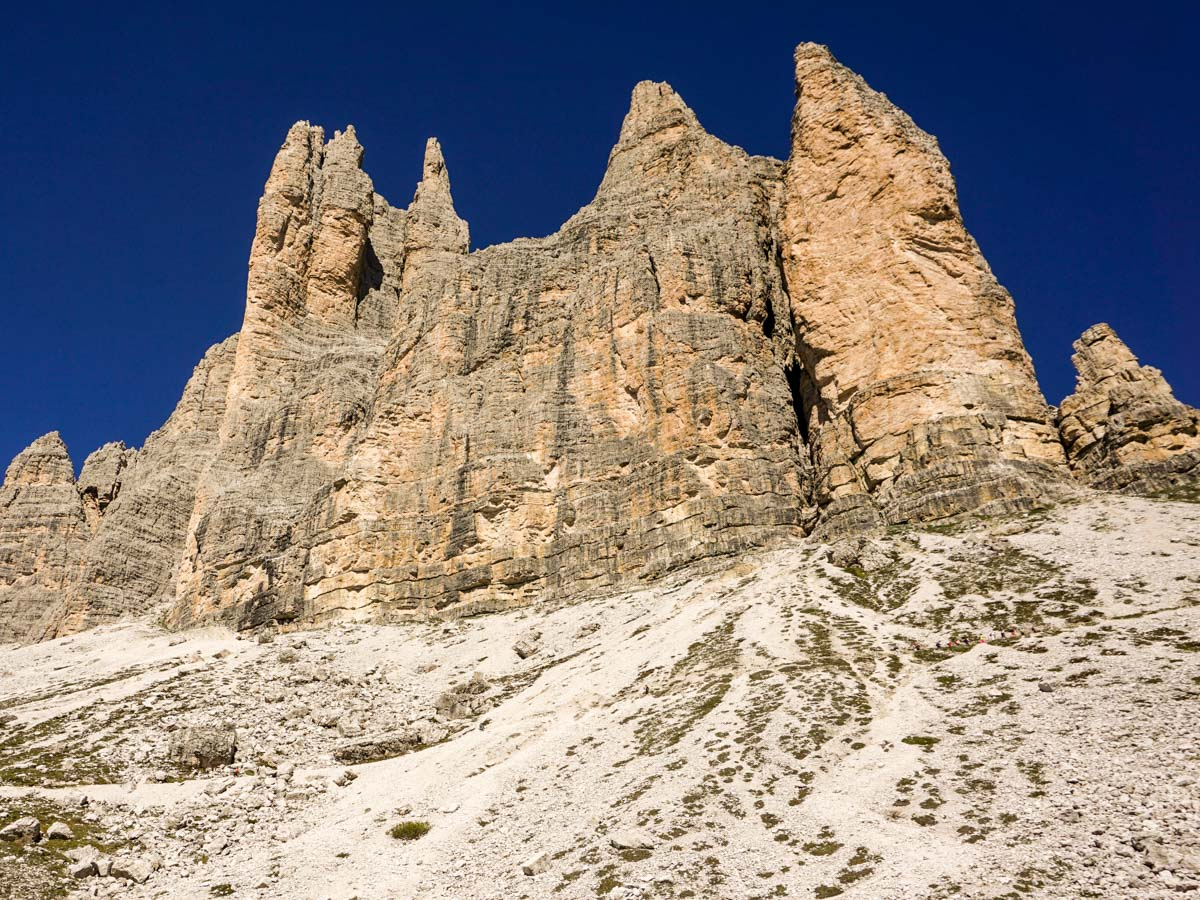 View of the Tre Cime di Lavaredo Hike in Dolomites, Italy