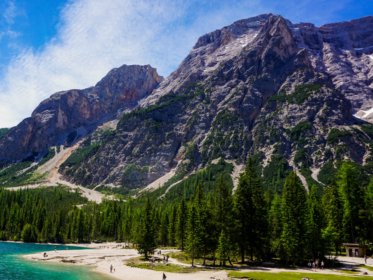 A fun beach day on Lago di Braies Hike in Dolomites, Italy
