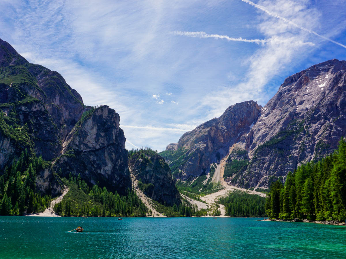 Stunning scenery on the Lago di Braies Hike in Dolomites, Italy