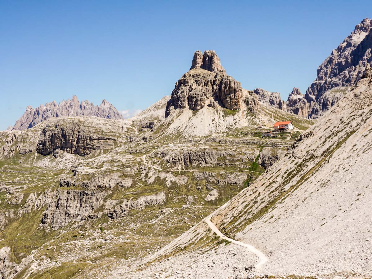Looking up at Rifugio Locatelli from the Tre Cime di Lavaredo Hike in Dolomites, Italy
