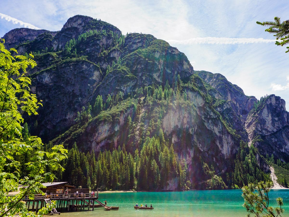 The Boathouse on Pragser Wildsee on the Lago di Braies Hike in Dolomites, Italy