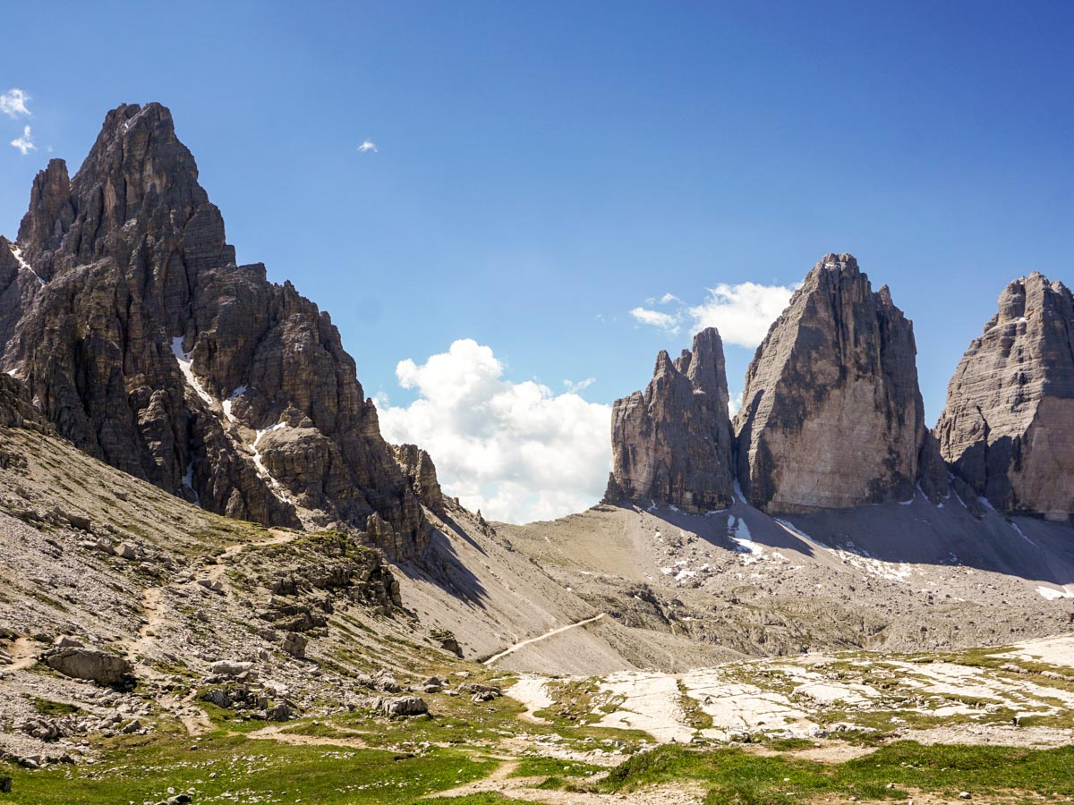 Views of The Cime di Lavaredo and Cime Passaporto from the Tre Cime di Lavaredo Hike in Dolomites, Italy