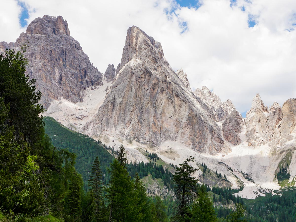 Stunning views of the Dolomites on the Lago di Sorapiss Hike in Dolomites, Italy
