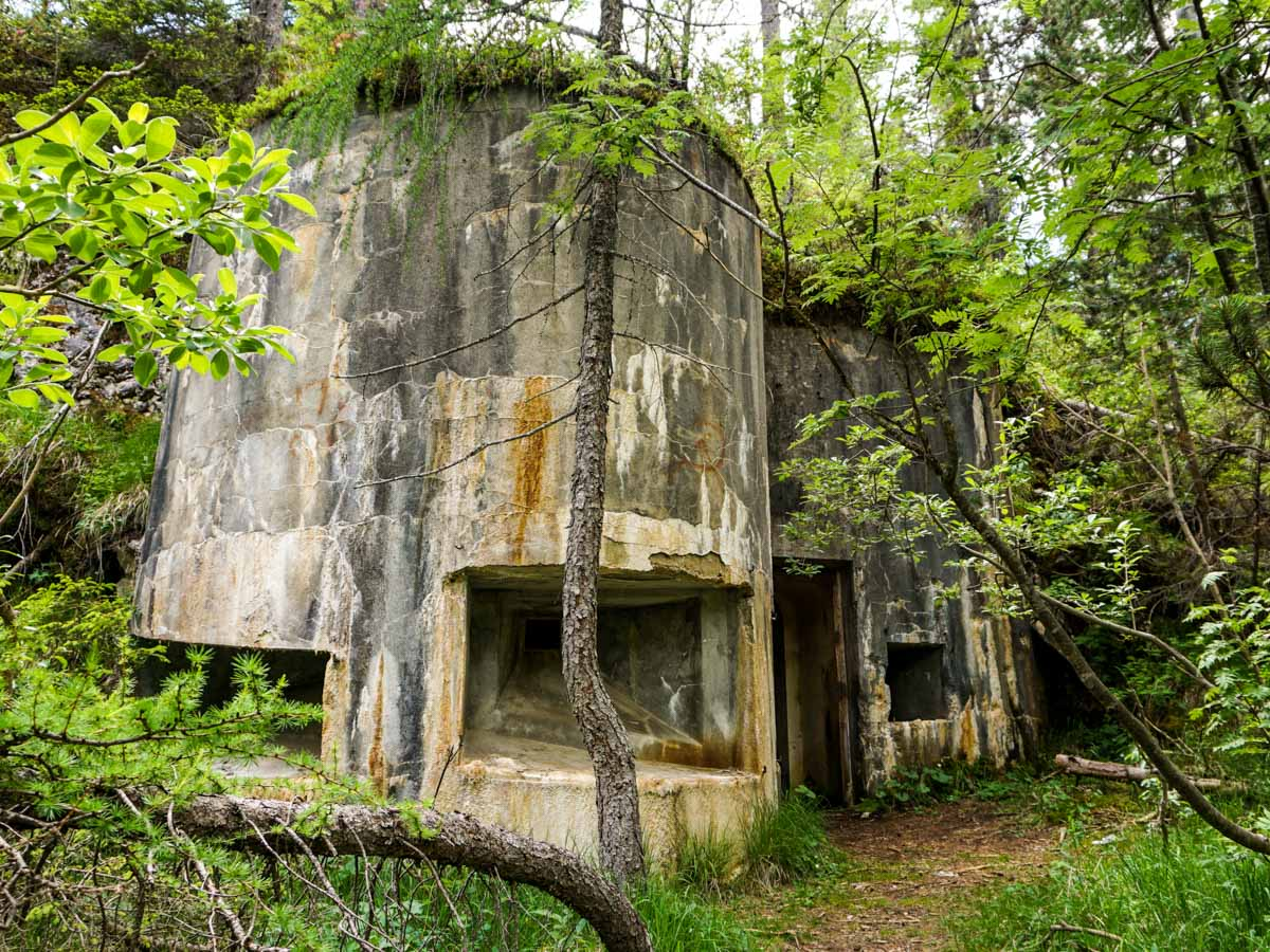 Old WWI bunkers on the Lago di Sorapiss Hike in Dolomites, Italy