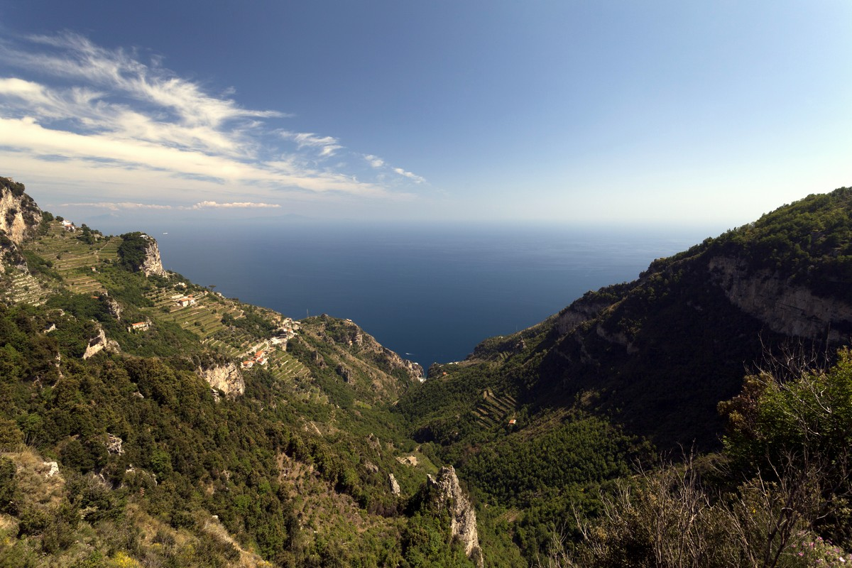 View from the first part of the path of the High Path of the Gods Hike in Amalfi Coast