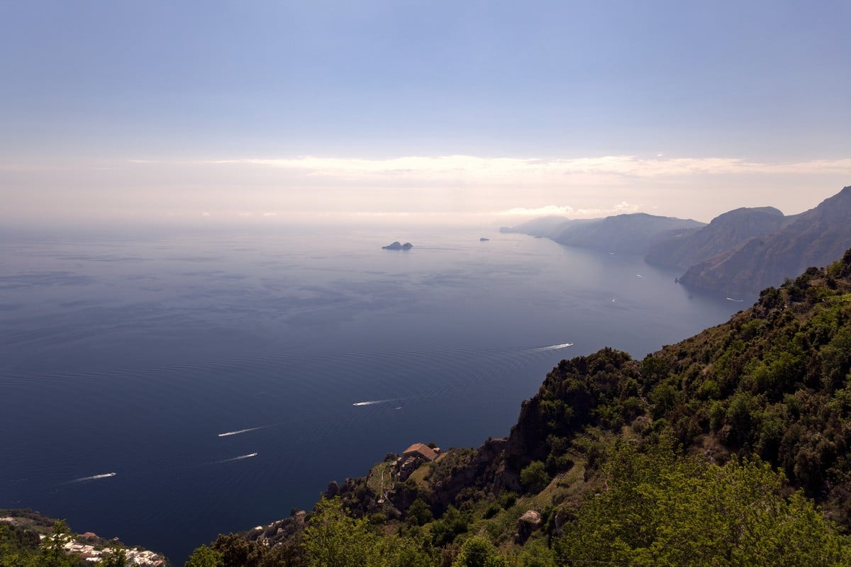 Amalfi Coast and Li Galli islands from the High Path of the Gods Hike in Amalfi Coast