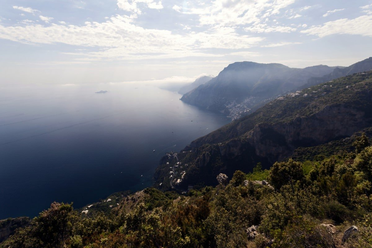 The Amalfi Coast and Positano from the High Path of the Gods Hike in Amalfi Coast