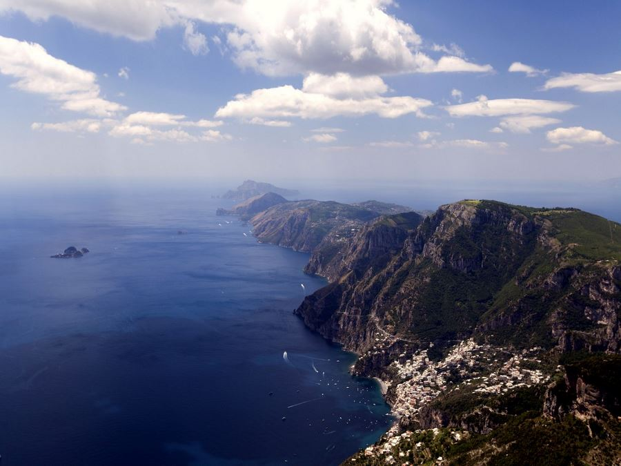 From the top of the mountain the Amalfi Coast and Capri on the back