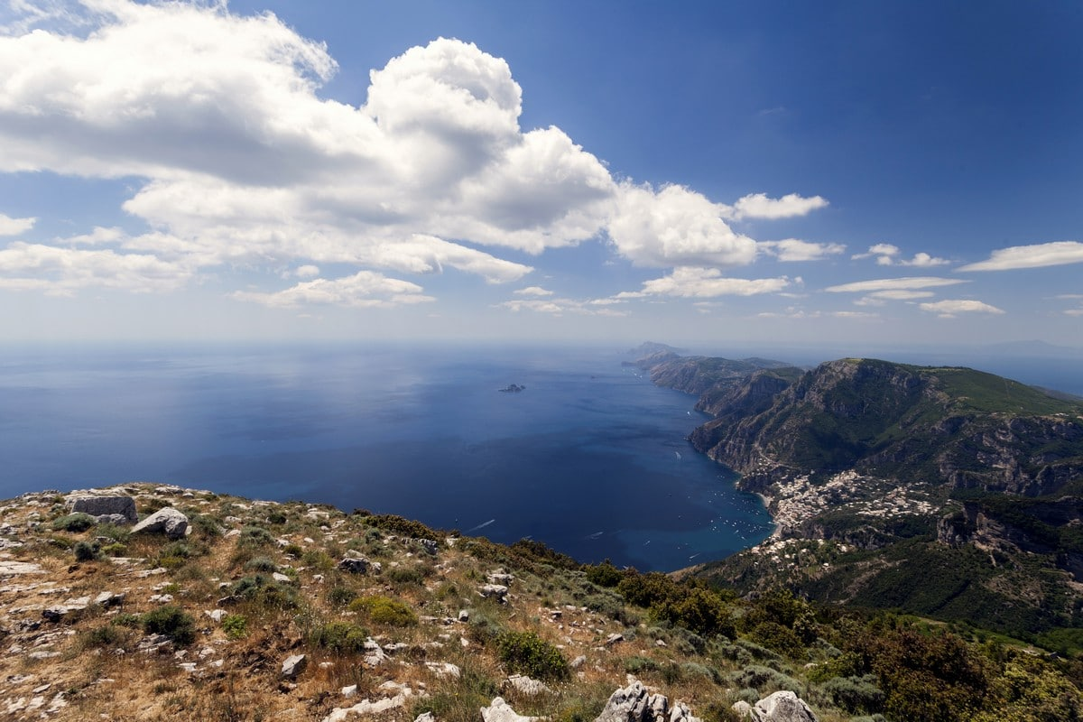 Panorama view from the Circuit of Tre Calli Hike in Amalfi Coast, Italy