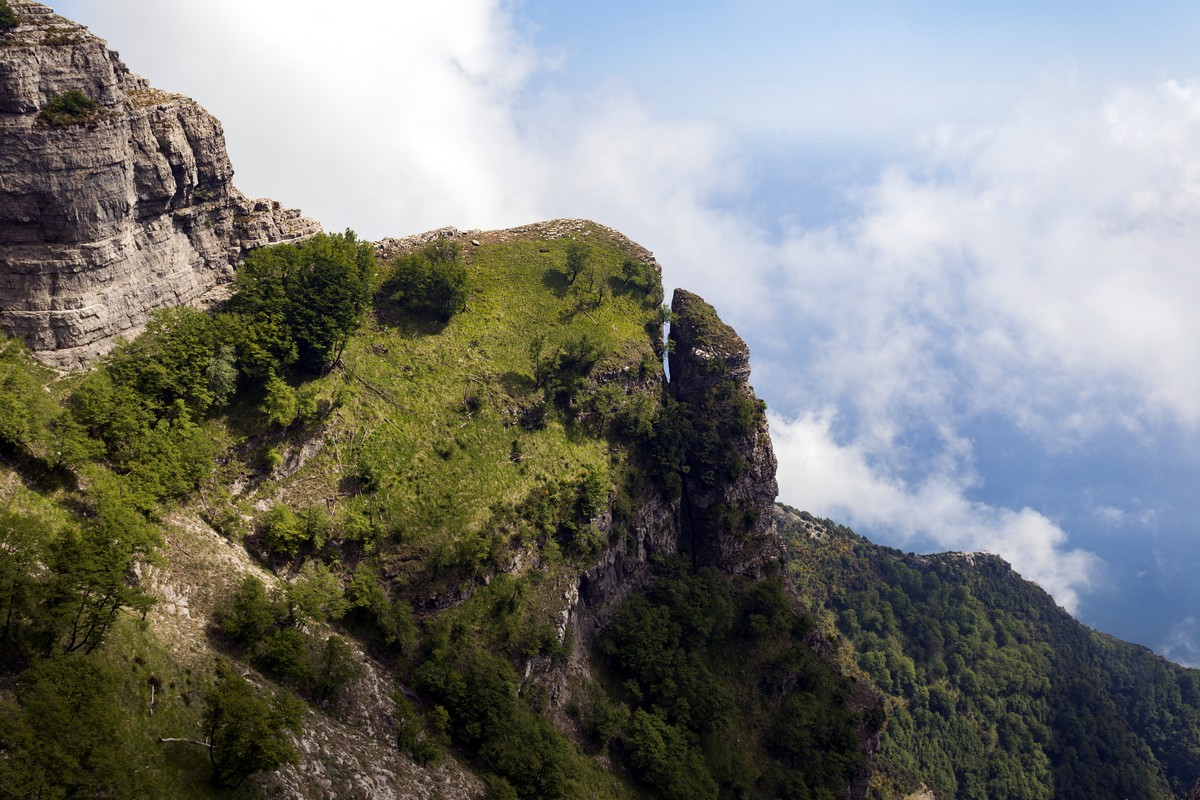 The Mount Catello and the broken rock from the Monte Canino Hike in Amalfi Coast, Italy