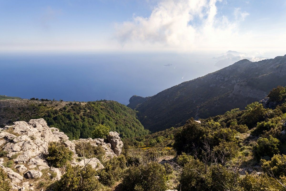 Top of the mountain view of the Monte Canino Hike in Amalfi Coast, Italy
