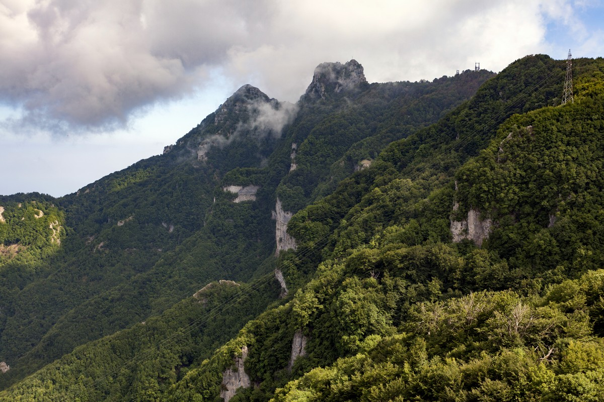 View of Monte Molare and Monte Canino from the Ring of Faito Hike in Amalfi Coast, Italy