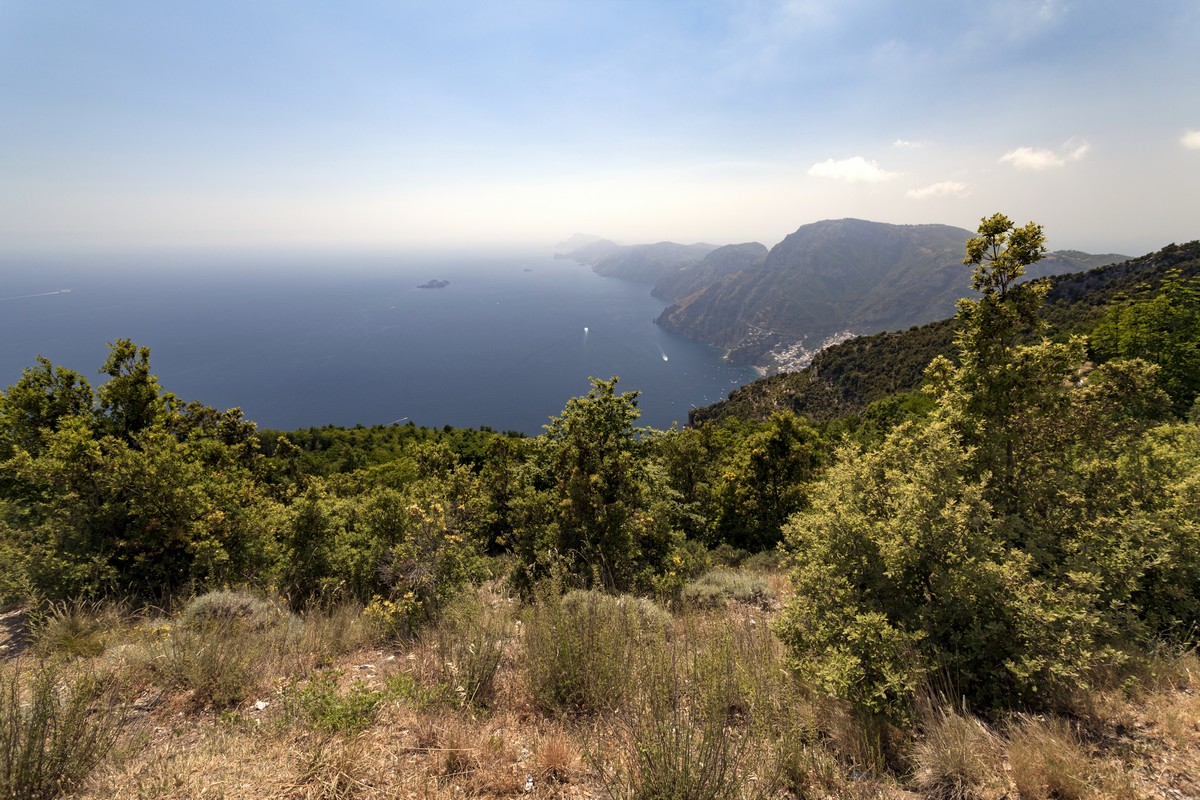 The coast from the High Path of the Gods Hike in Amalfi Coast, Italy