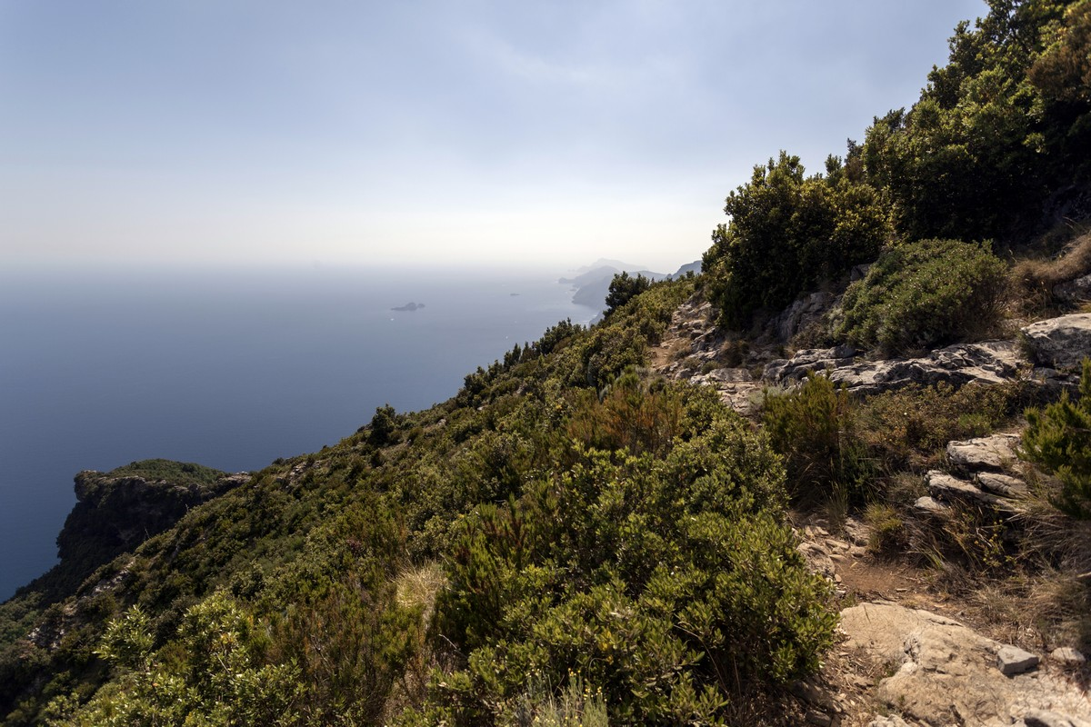 The trail of the High Path of the Gods Hike in Amalfi Coast, Italy