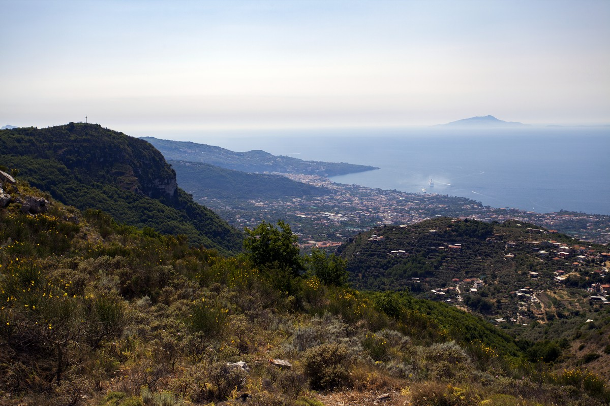 Sorrento and the island of Ischia from the Monte Comune Hike in Amalfi Coast, Italy
