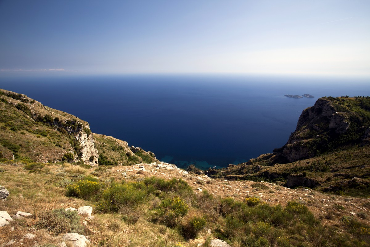 Seascape from the Monte Comune Hike in Amalfi Coast, Italy