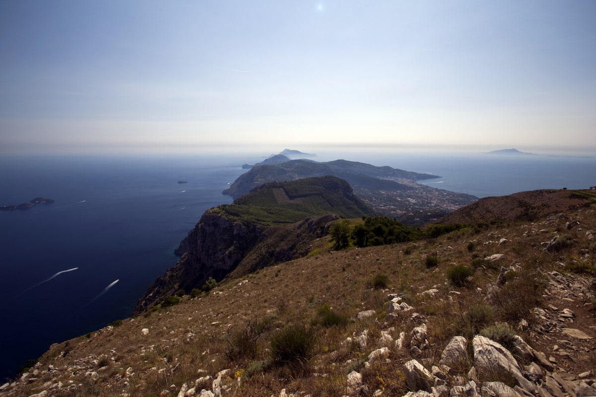 The trail of the Sorrentine Peninsula from the Monte Comune Hike in Amalfi Coast, Italy