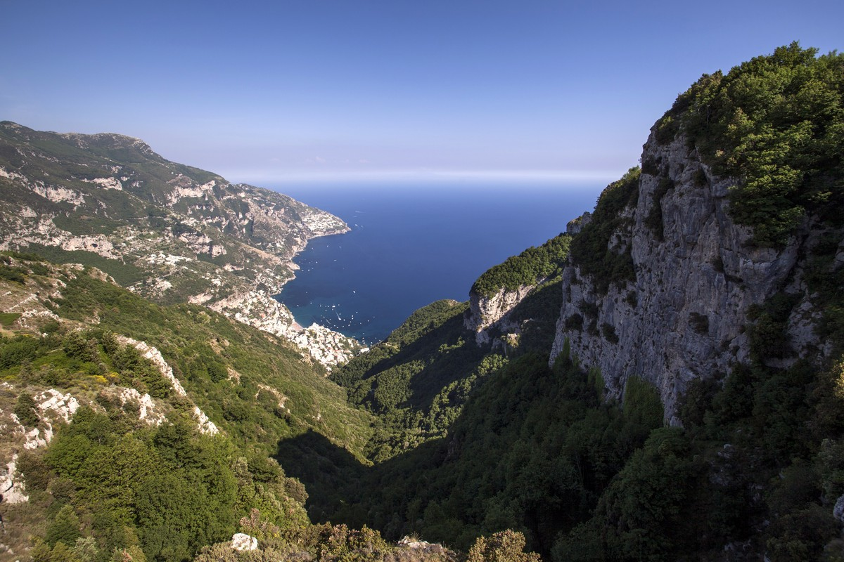 Positano and Praiano from the Monte Comune Hike in Amalfi Coast, Italy