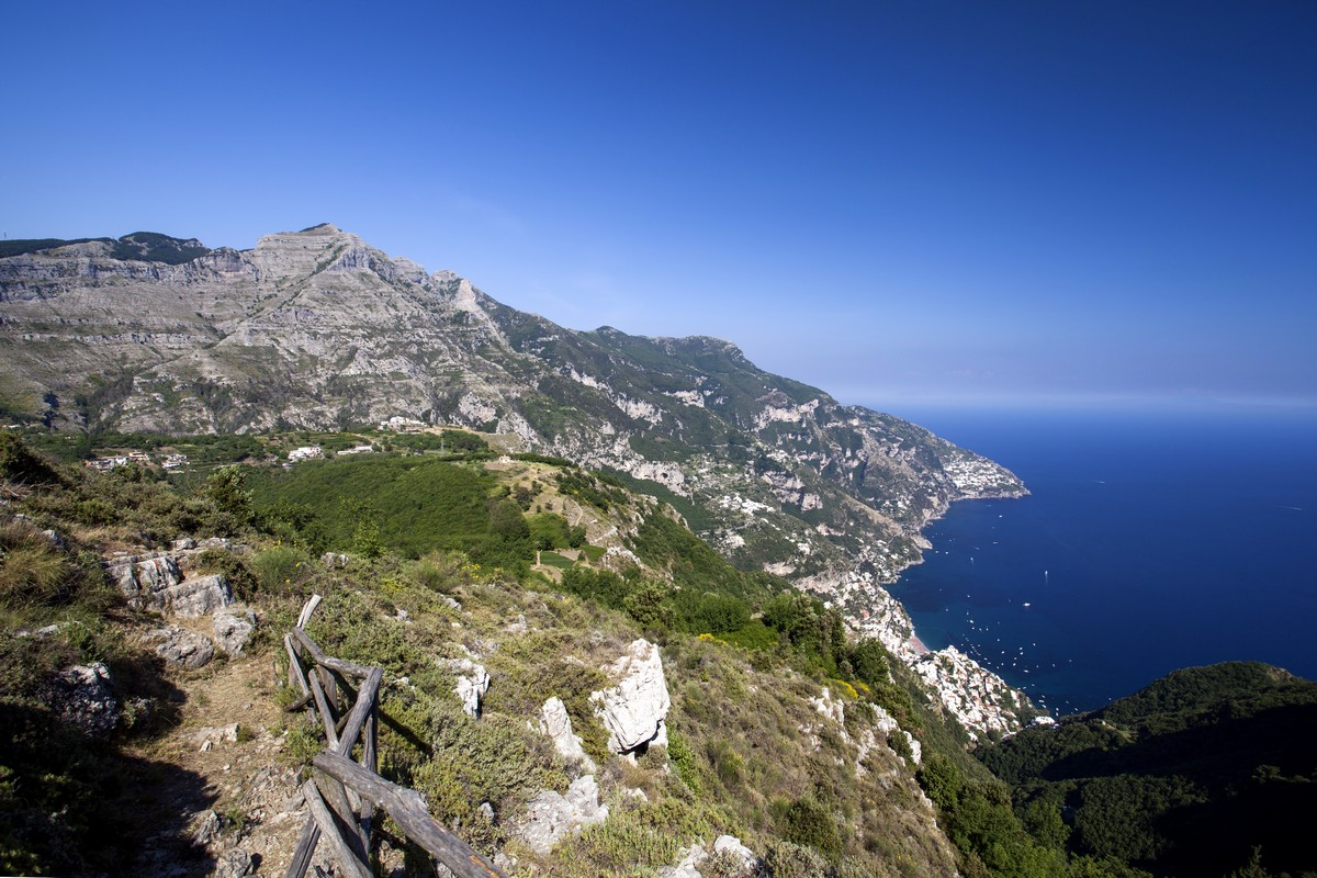The Lattari mountains and Positano below from the Monte Comune Hike in Amalfi Coast, Italy
