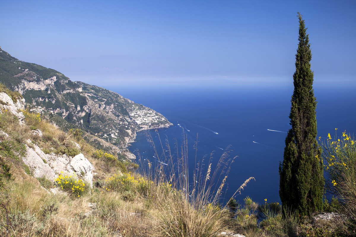 Praiano from the Monte Comune Hike in Amalfi Coast, Italy