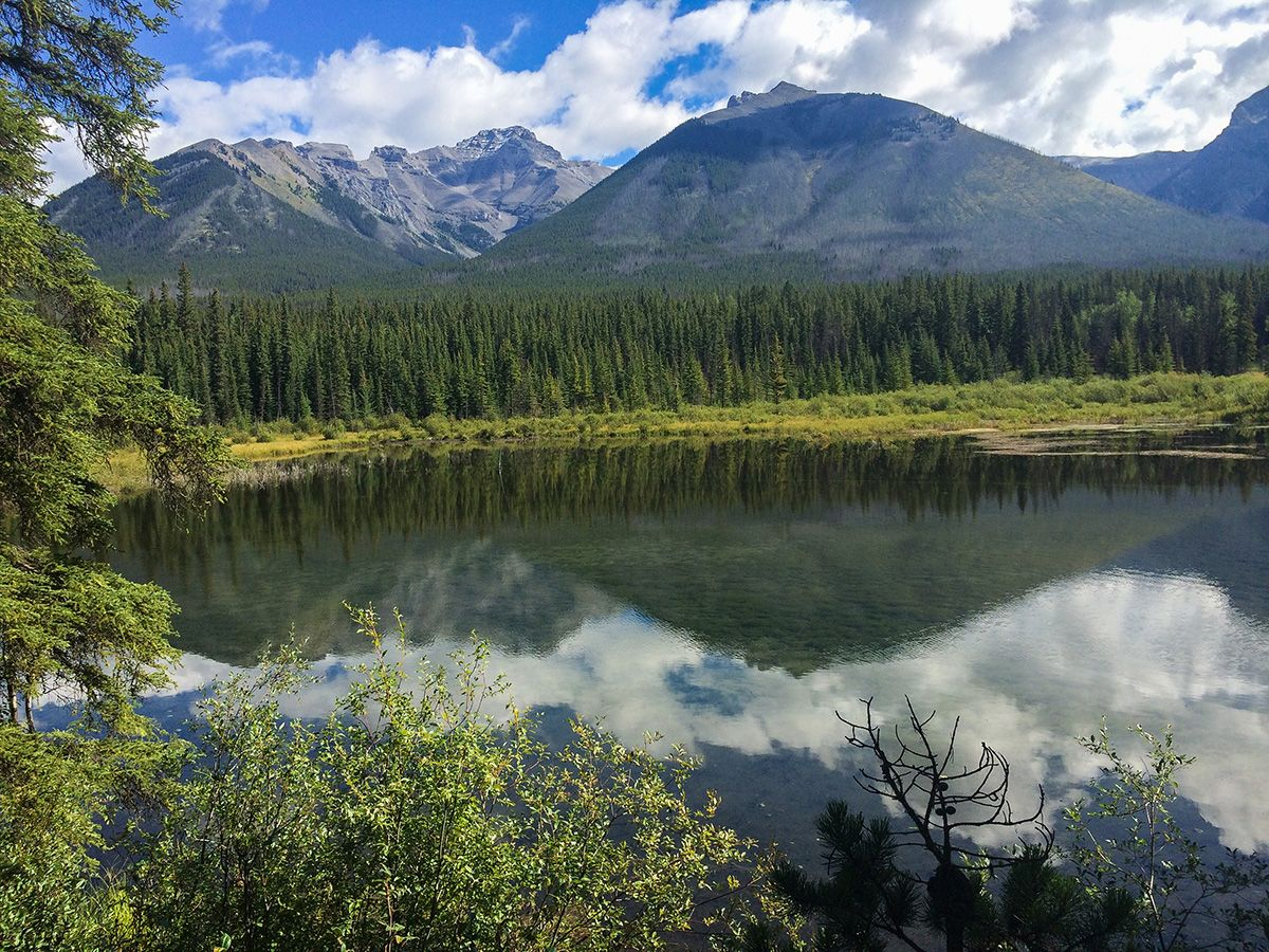 Great views from the Johnson Lake Hike near Banff, the Canadian Rockies