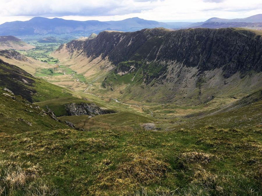 Down Valley with Hindscarth from the Newlands Horseshoe Hike in Lake District, England