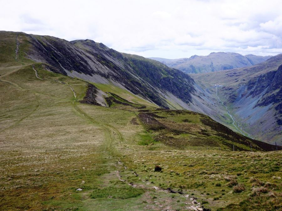 Dale Head with Honister Pass on the Newlands Horseshoe Hike in Lake District, England