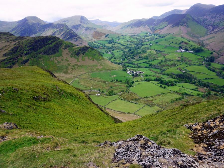 Farms and mountains from the Newlands Horseshoe Hike in Lake District, England