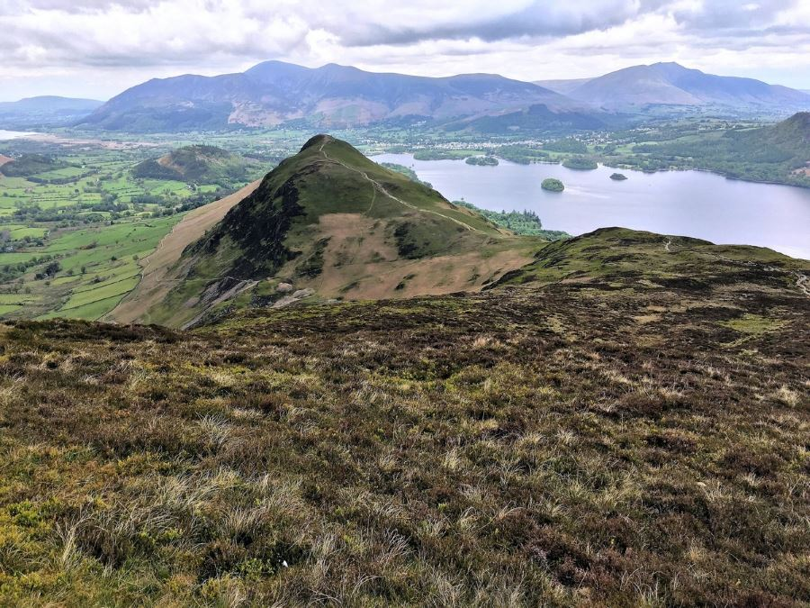 Keswick and Derwentwater from Catbells on the Newlands Horseshoe Hike in Lake District, England
