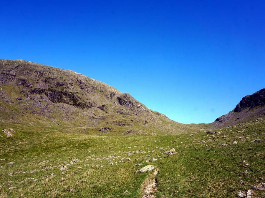 Trail to saddle beside Yewbarrow on the Mosedale Horseshoe Hike in Lake District, England