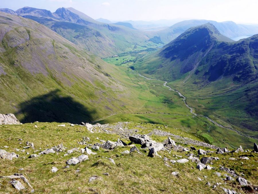 View towards Wasdale Head from the Mosedale Horseshoe Hike in Lake District, England