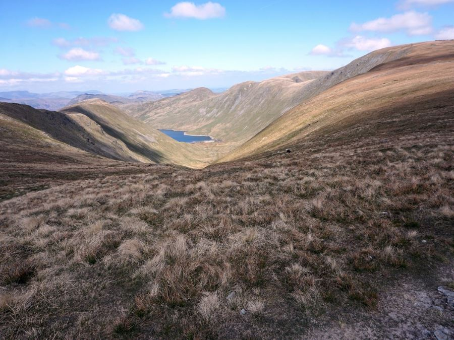 Hayeswater from the Roman High Street Circuit Hike in Lake District has amazing views of the valley