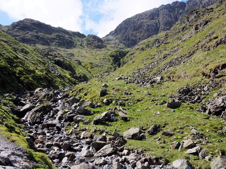 Valley on the Scafell Pike Hike in Lake District, England