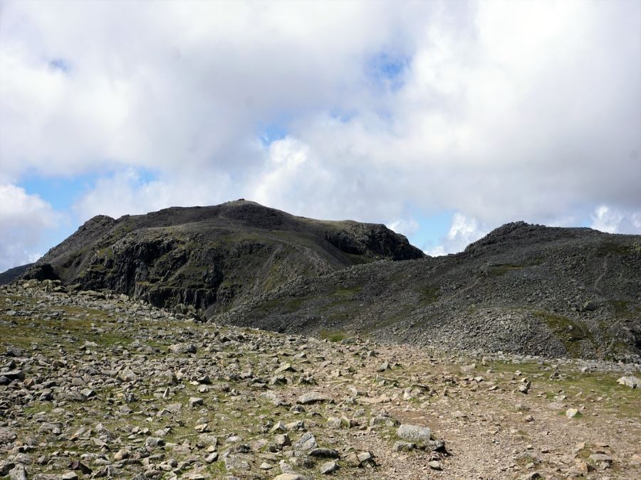 Approaching the peak of the Scafell Pike Hike in Lake District, England