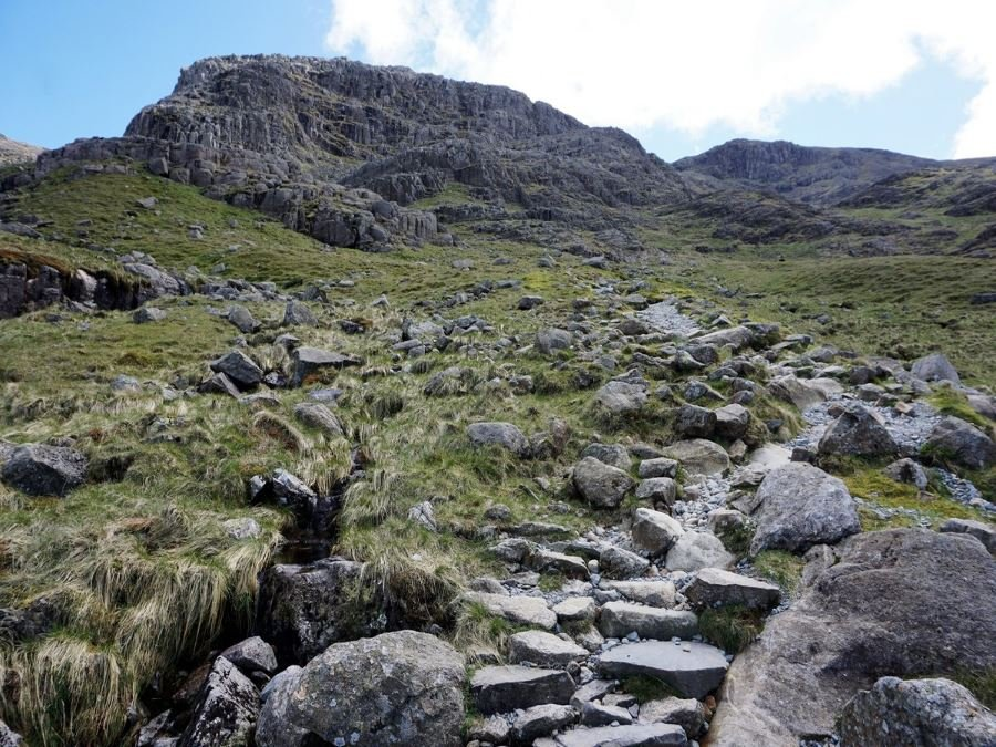 Trail views from the Scafell Pike Hike in Lake District, England