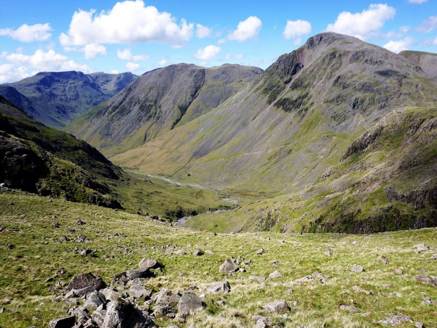 Beautiful valley views from the Scafell Pike Hike in Lake District, England