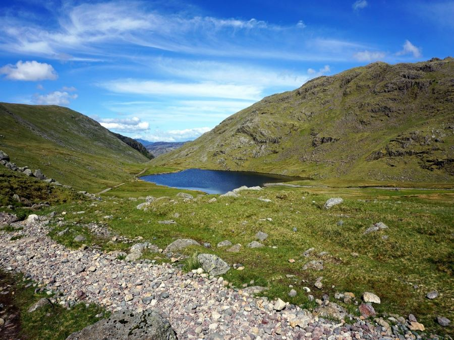 Small tarn on the Scafell Pike Hike in Lake District, England