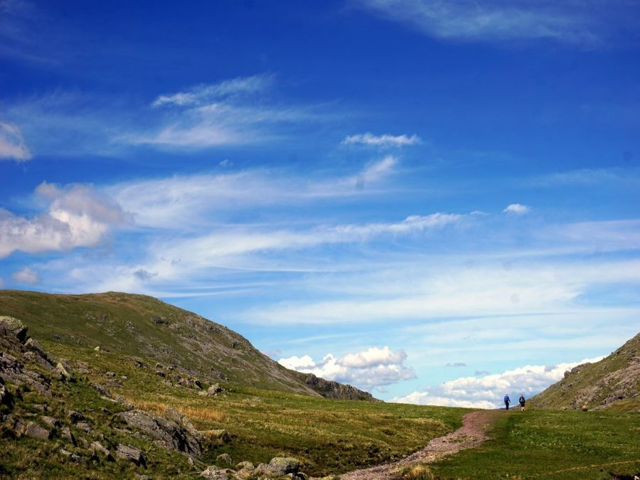 Beautiful trail of the Scafell Pike Hike in Lake District, England