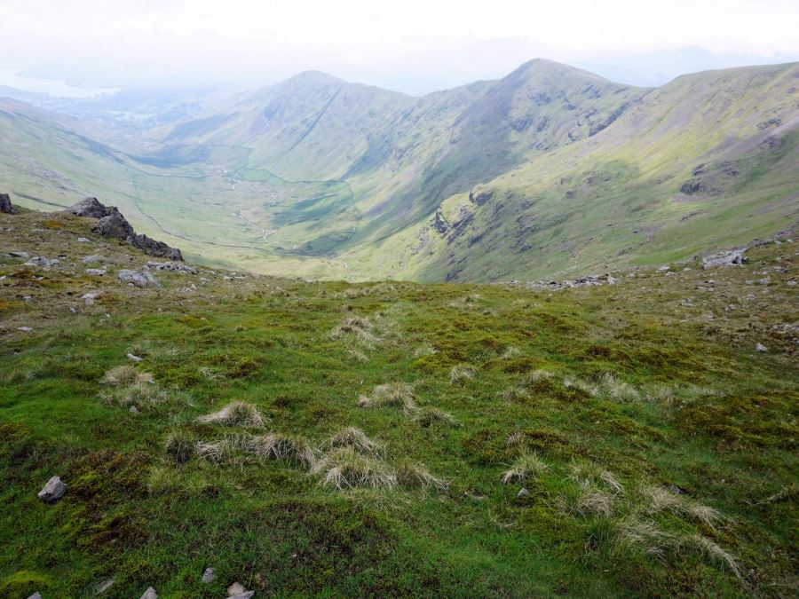 Valley views from the Fairfield Horseshoe Hike in Lake District, England