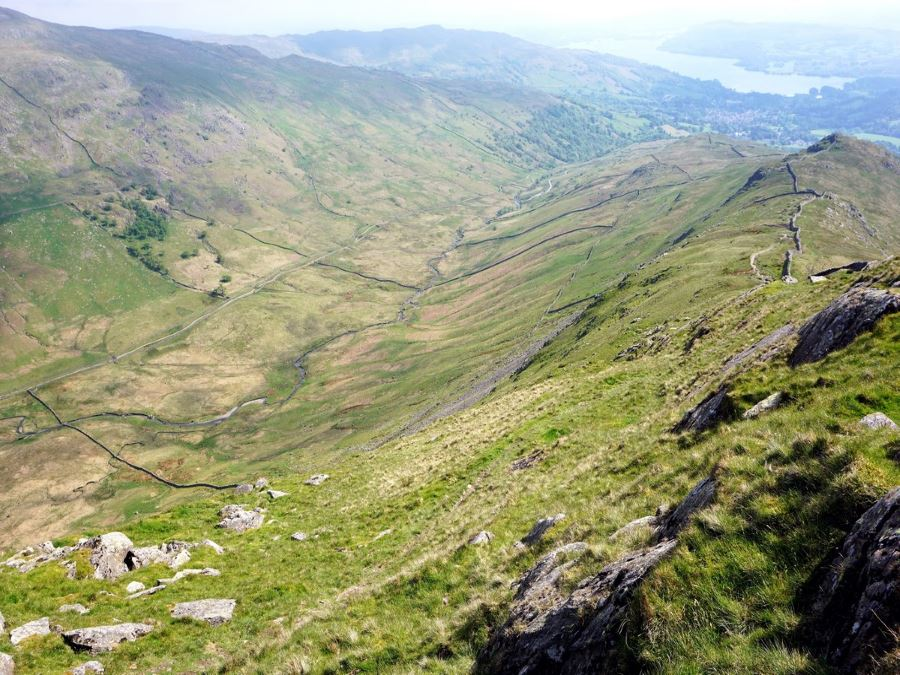 Valley from the Fairfield Horseshoe Hike in Lake District, England