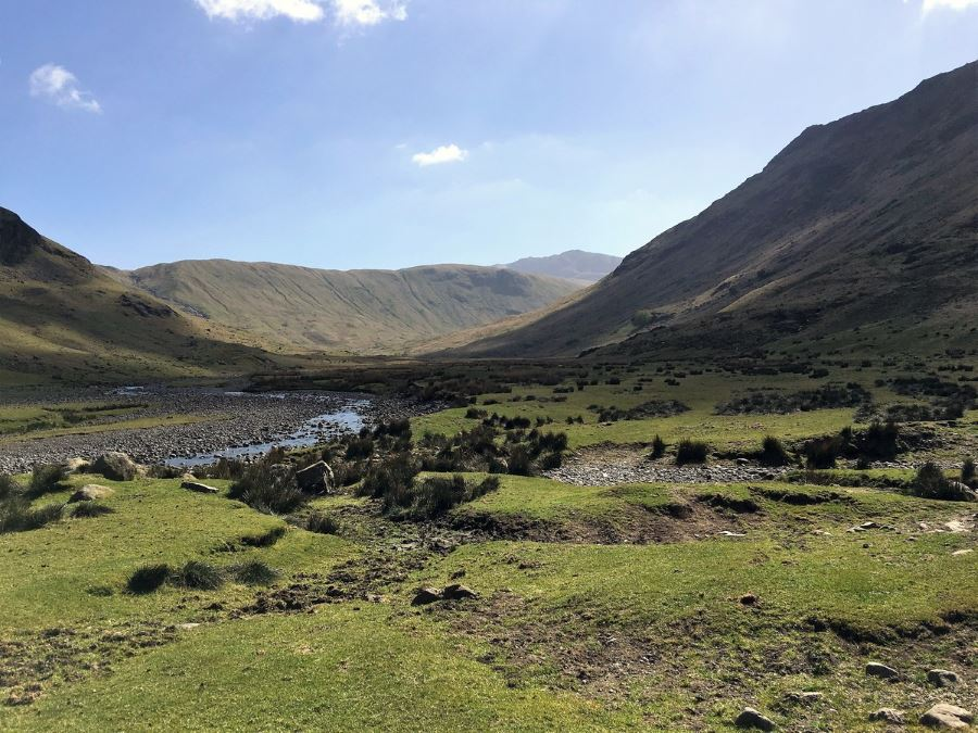 Looking down the beautiful Langstrath Valley