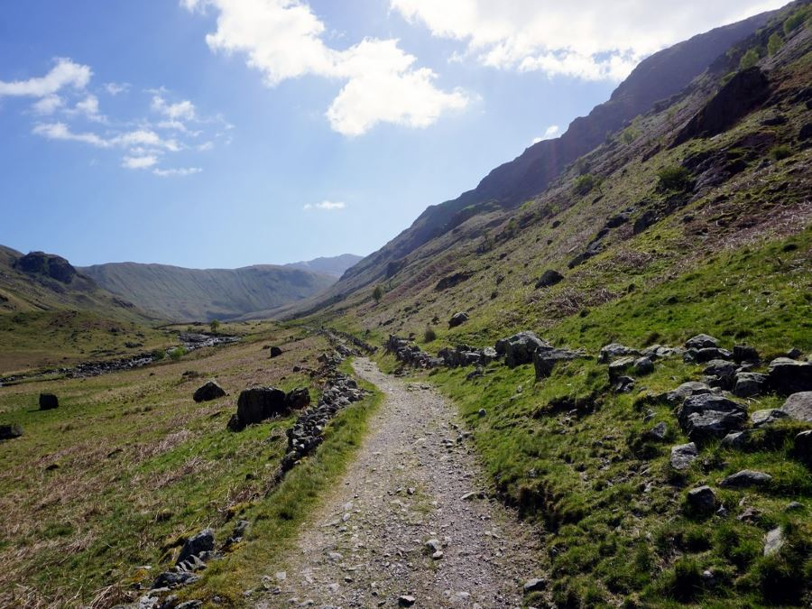 The trail of the Langstrath Valley Hike in Lake District, England