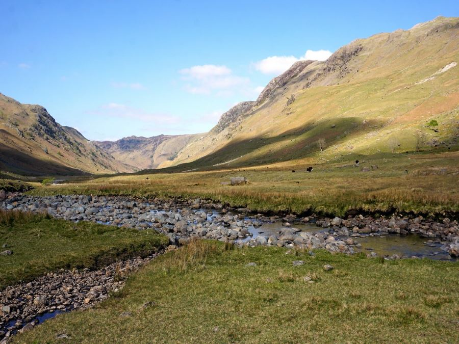 The stream along the Langstrath Valley Hike in Lake District, England