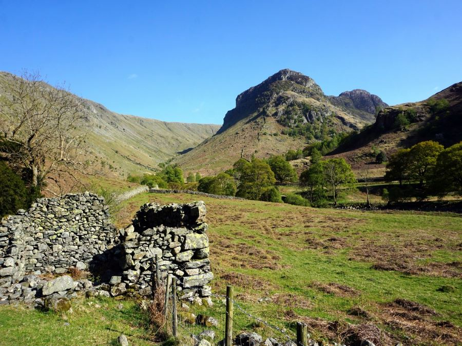 Hiking the Langstrath Valley trail in Lake District, England