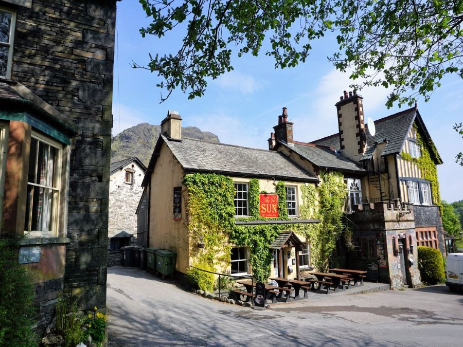 The Sun Inn at the start of the Old Man of Coniston Circuit